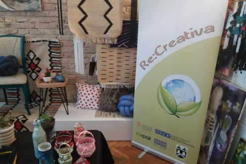 Exibition of student upcycling work display - Project: Re:Creativa
