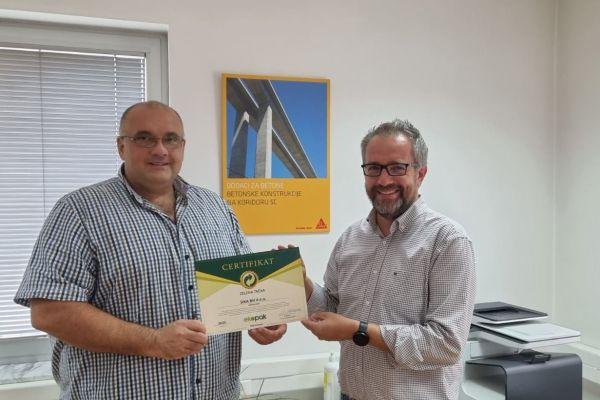 Uručen certifikat Zelena tačka 2020. kompaniji Sika BH d.o.o.