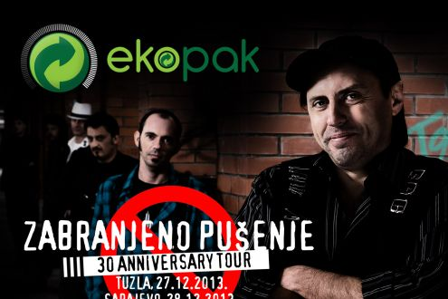 "Ekopak, partner at the ""Zabranjeno pušenje"" concert, in exchange for 5 PET bottles reweds you with a ticket for the concerts in Tuzla and Sarajevo!"